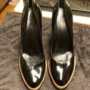 NWOT Gucci Black Patent Leather Platform 5In Heels